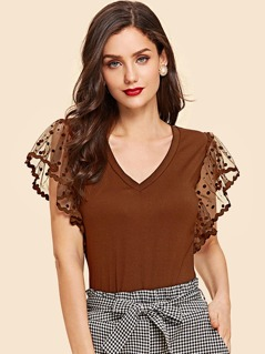 Dot Mesh Butterfly Sleeve Fitted Top