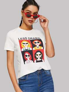 Letter and Cartoon Tee