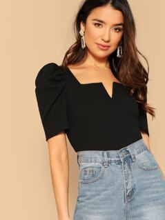 V-cut Front Puff Sleeve Top