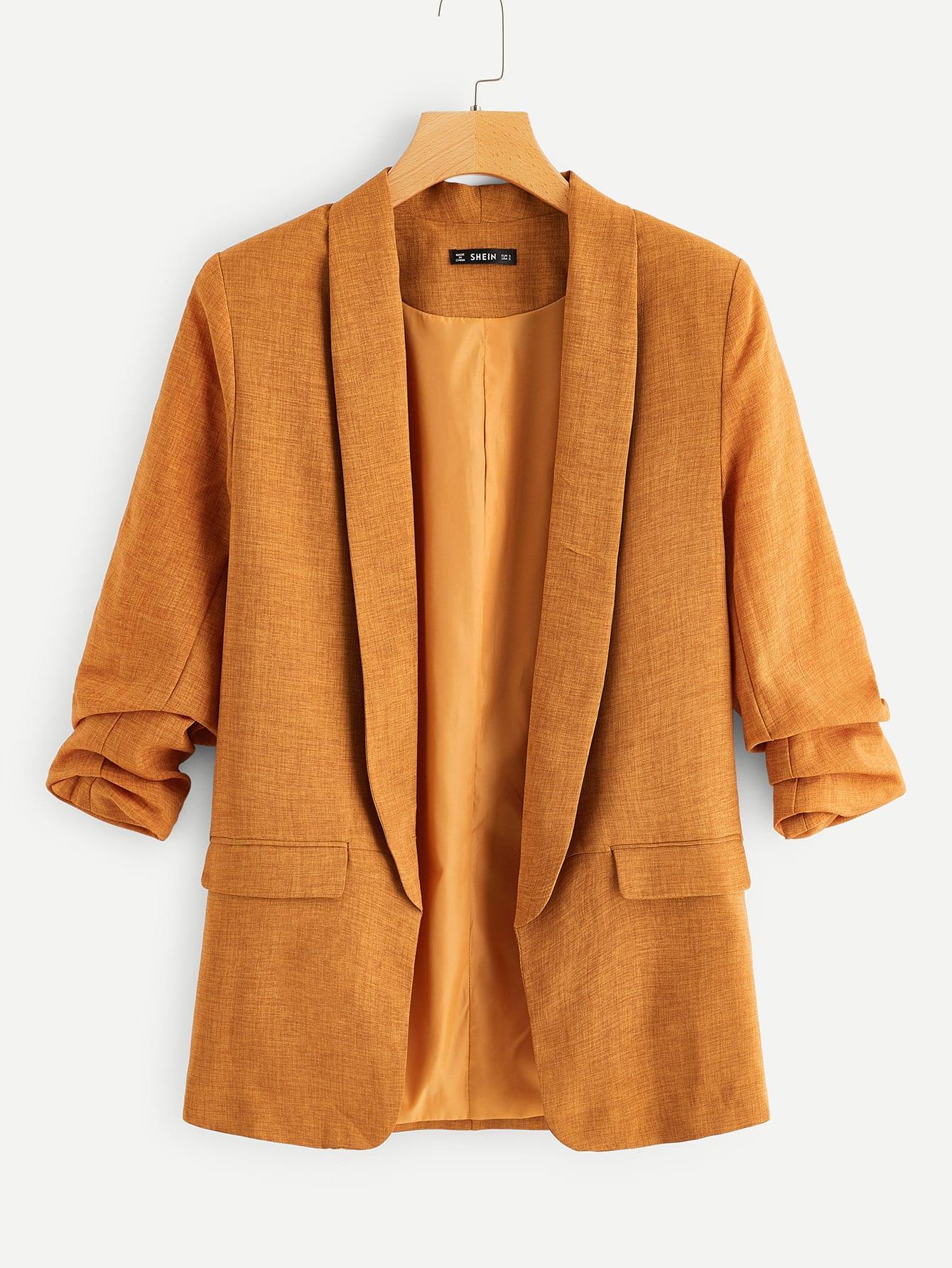 Однотонный пиджак с оригинальным рукавом SheIn