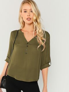 Roll Tab Sleeve Curved Hem Blouse