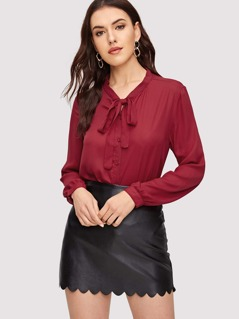 Tie Neck Buttoned Pleated Back Blouse