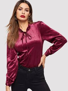 Tie Neck Frill Trim Solid Top