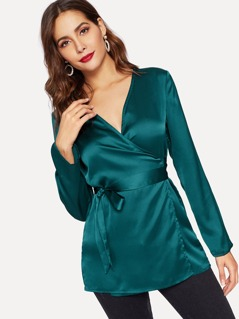 Solid Wrap Belted Satin Blouse