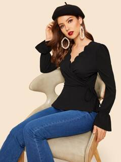 Scallop Trim Wrap Knotted Peplum Shirt