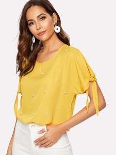 Knotted Sleeve Pearl Embellished Solid Top