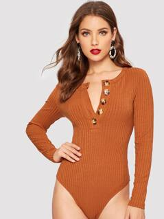 Button Front Ribbed Knit Bodysuit