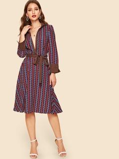 50s Ornate Print Belted Shirt Dress