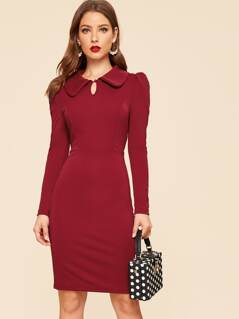 30s Keyhole Front Puff Sleeve Collared Dress