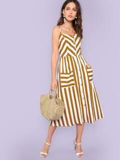 Button Through Pocket Patch Stripe Cami Dress