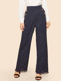 Buttoned Detail Wide Waist Frayed Trim Palazzo Tweed Pants