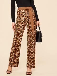 Waist Knot Leopard Print Pants