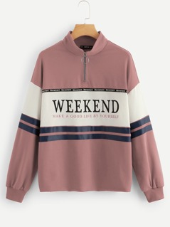 Zip Half-placket Slogan Print Color Block Sweatshirt