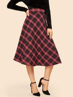 60s Wide Waist Plaid Skirt
