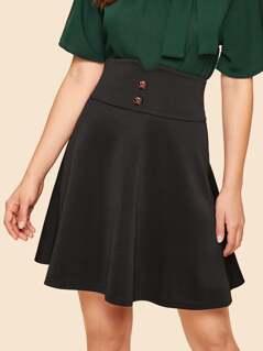 40s Wide Waistband Button Detail Skirt