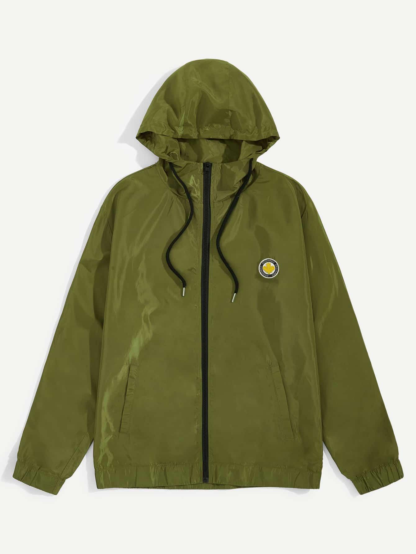 Купить Мужская куртка на молнии с капюшоном и кулиской, null, SheIn