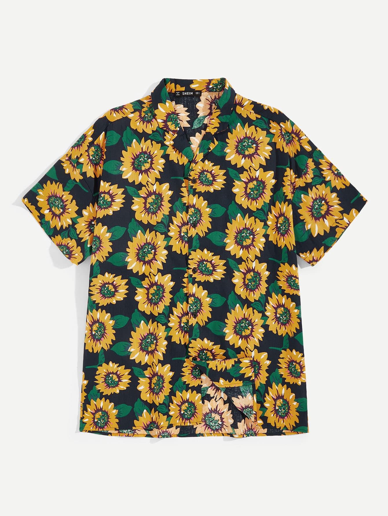 Купить Мужская рубашка с принтом подсолнуха, null, SheIn