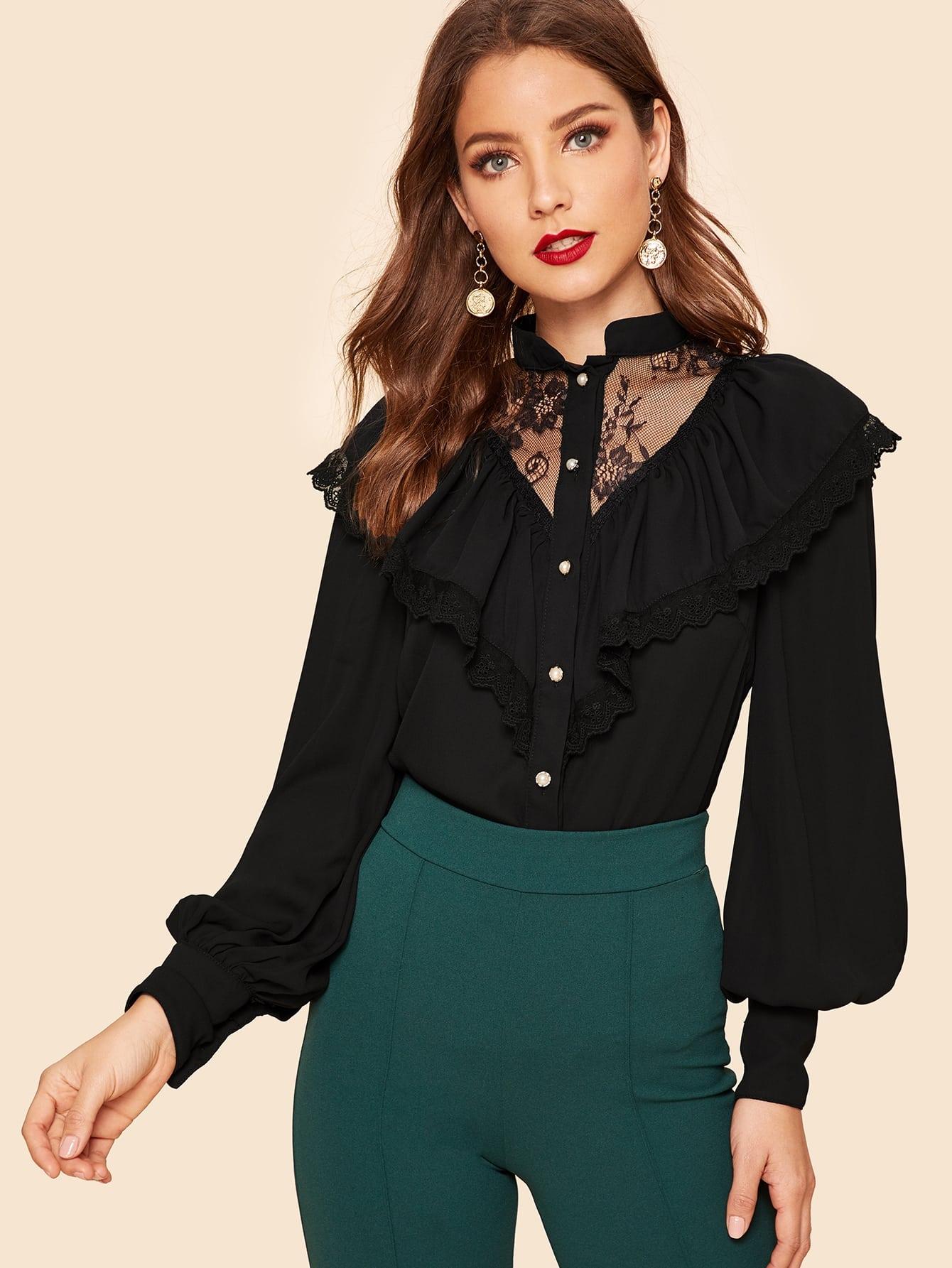 Купить Рубашка с кружевной вставкой и вышитой сетчатой отделкой, Debi Cruz, SheIn