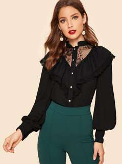 Lace Insert Embroidered Mesh Trim Shirt