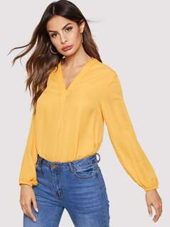 Shoulder Ruched V-Neck Solid Top