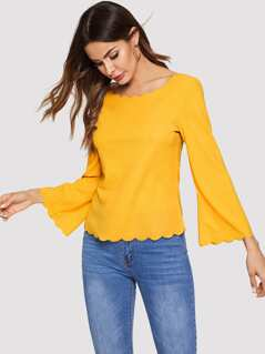 Bell Sleeve Scallop Trim Top