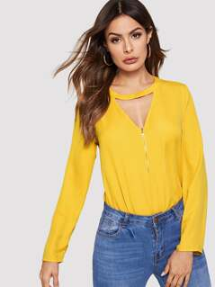 Zip Front Keyhole Neck Top