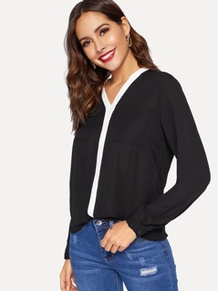 Contrast Placket Dual Pocket Top