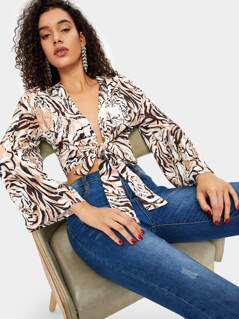 Tiger Print Bell Sleeve Knot Hem Top