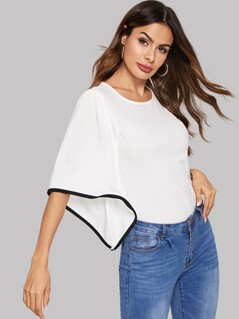 Bell Sleeve Contrast Binding Top