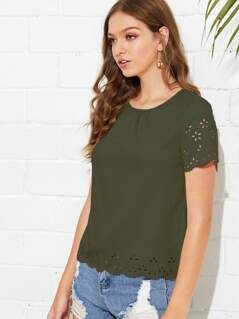 Scallop Laser Cut Out Blouse