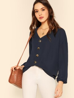 Button Through Blouson Sleeve Top