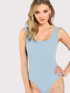 Scallop Edge Form Fitted Bodysuit