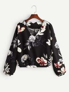 V Neck Botanical Print Blouse