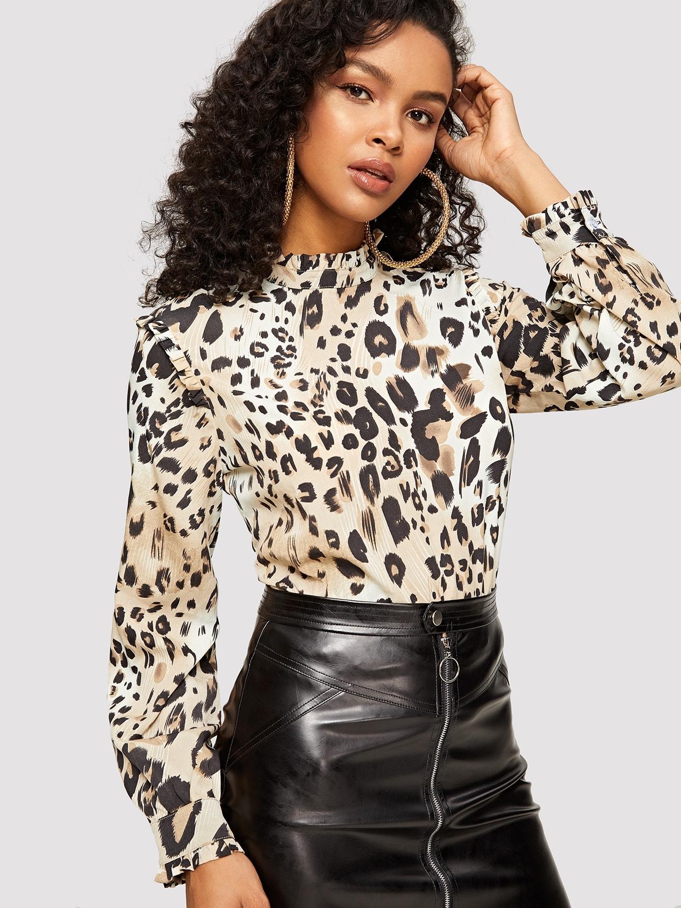 Купить Леопардовая блузка со складкой, Gigi, SheIn