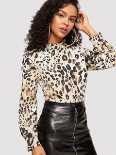 Frill Neck & Cuff Leopard Print Blouse