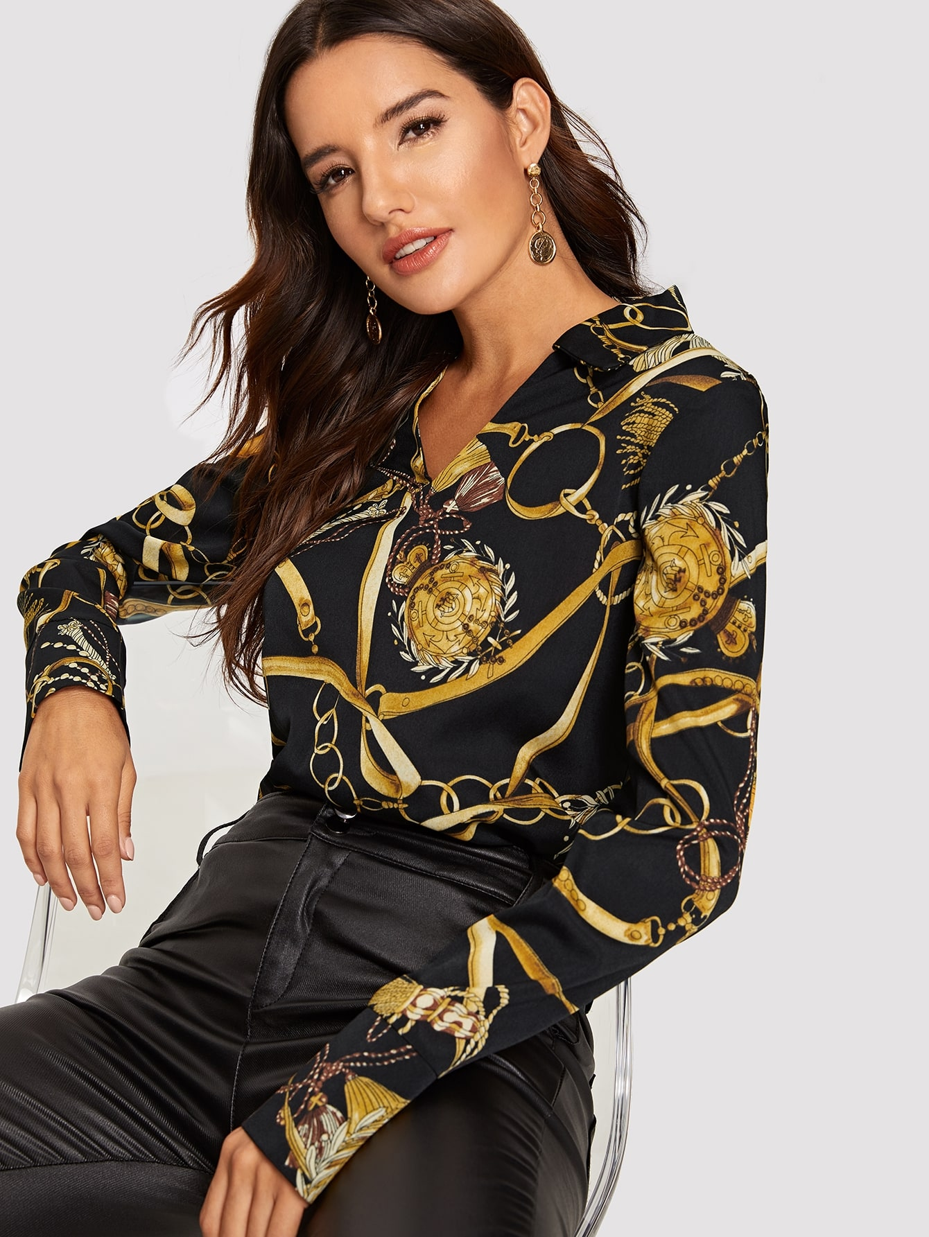 Блузка с выгнутым подолом и цепным принтом, Juliana, SheIn  - купить со скидкой