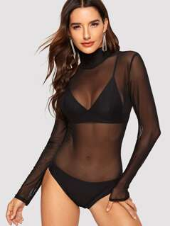 High Neck Sheer Mesh Bodysuit
