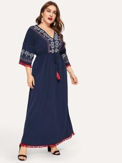 Plus Embroidery Tape Tassel Tied Pompom Trim Dress