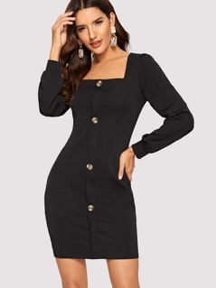 Button Up Fitted Dress