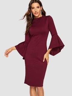 Flounce Sleeve Form Fitting Mock-neck Dress