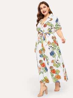 Plus Notched Collar Botanical Print Dress