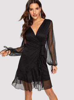 Mesh Overlay Bishop Sleeve Overlap Ruffle Trim Dress