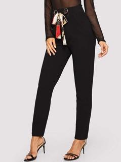 Grommet Insert Chain Print Belted Knot Pants