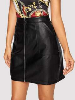 Pocket Patched O-ring Zipper PU Leather Skirt