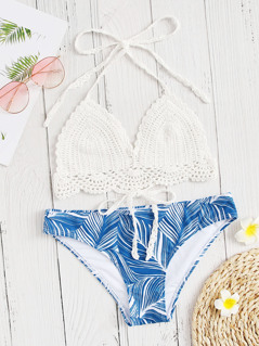 Knot Crochet Top With Random Palm Leaf Bikini Set