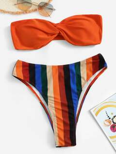 Twist Detail Bandeau Top With Vertical-stripe Bikini Set