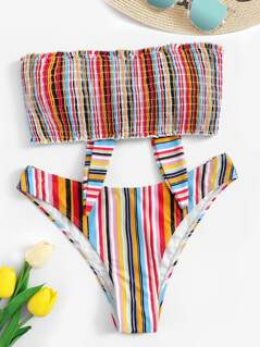 Frilled Trim Knot Striped Shirred Bikini Set