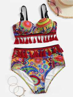 Random Ornate Print Knot Tassel Top With High Waist Bikini Set
