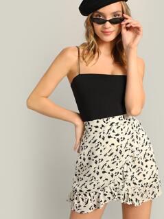 Dalmatian Polka Dot High Waist Ruffle Mini Skirt