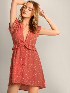 Polka Dot Button Detail V-Neck Ruffle Trim Dress